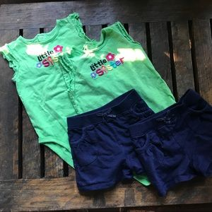 Twin girl two piece onesie outfits